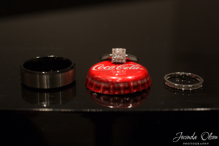 Bride and Grooms ring on Coke bottle cap