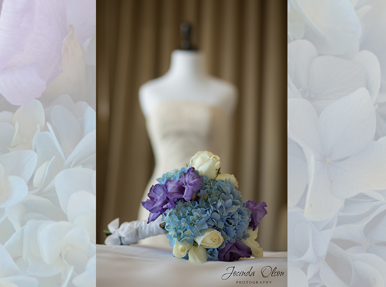 Bridal bouquet with hydrangeas and roses