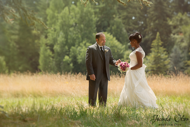 Bride and Groom's first look in field