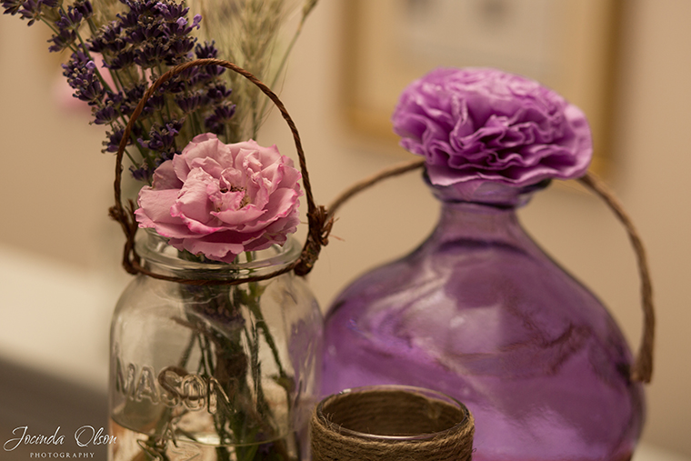 Purple jars and wheat with lavender