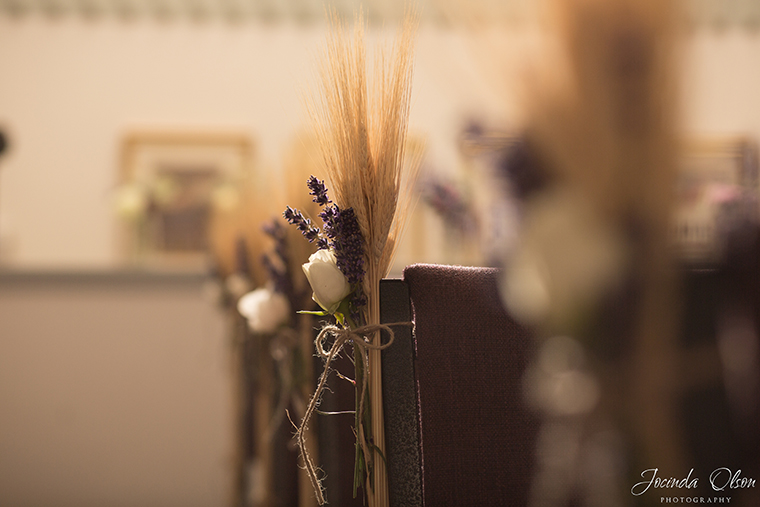 Wheat and lavender chair decorations