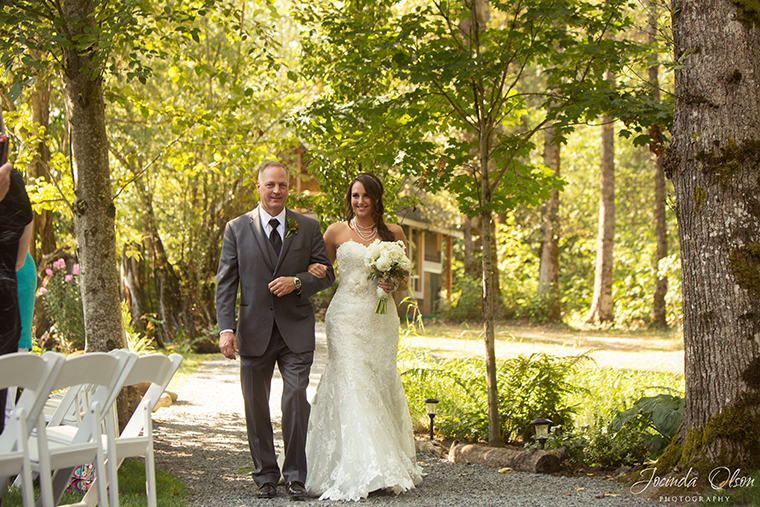 Bride and Father during ceremony at Maroni Meadow Wedding Venue